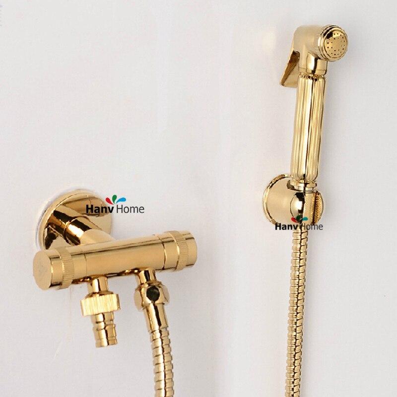aliexpress buy toilet brass golden held bidet spray shattaf sprayer jet