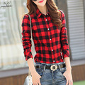 2016 New cotton Checkered plaid blouses shirt Cage female long sleeve casual slim women plus size shirt office lady tops