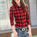 2016 Novo de algodão Xadrez xadrez blusas camisa Gaiola feminino mulheres plus size camisa de manga longa magro ocasional senhora do escritório tops