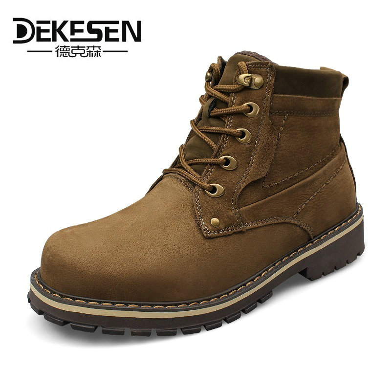 DEKESEN Size 38~49 Full grain leather Boots, Russian style Handmade warm fur men winter shoes,Snow Ankle Boots for mens Shoes warmest genuine leather snow boots size 37 50 brand russian style men winter shoes 8815