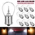 DC12V 10 шт. Автомобильные фары S25 1156 1141 BA15S автомобильные галогенные лампы поворотные одиночные лампы обратная лампа желтая лампа