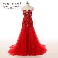 Rosa Moda de Luxo Cristal Vermelho Vestido De Baile Que Bling Sereia Prom Vestidos Formais Vestidos de Natal Vestido de Festa 2018