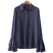 Fashion Women's Chiffon Thin Solid Color Full Butterfly Ruffled Sleeve Turn Down Collar Casual Shirt