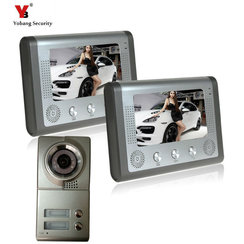 Yobang Security freeship apartments video door phone intercom system for 2 floor user Building Video intercom system door bell chuangkesafe shipping v70c l multi apartments building video intercom system apartment audio door phone