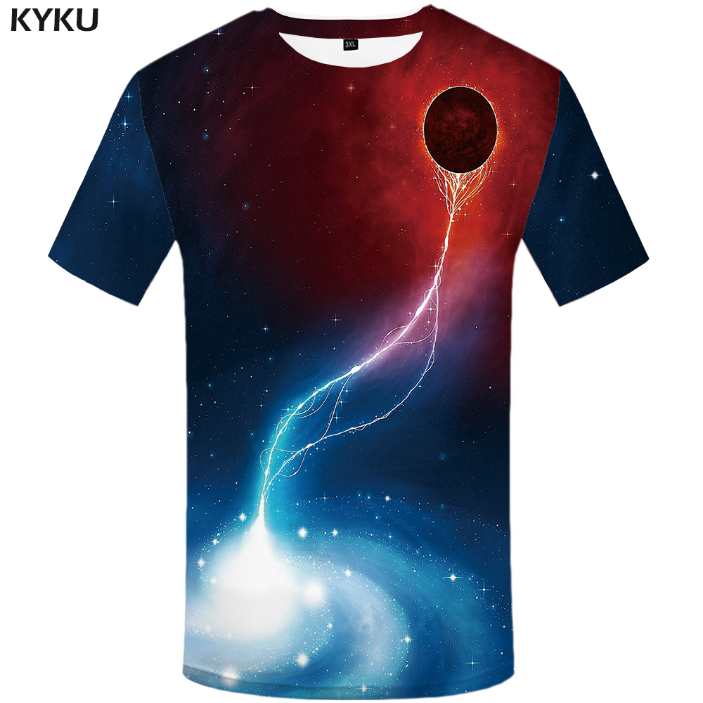 KYKU Galaxy T Shirt Women Planet T-shirts Fire Space Tshirt Punk Rock Tee Gothic Tshirt Summer Style Womens Clothing 2018 Casual