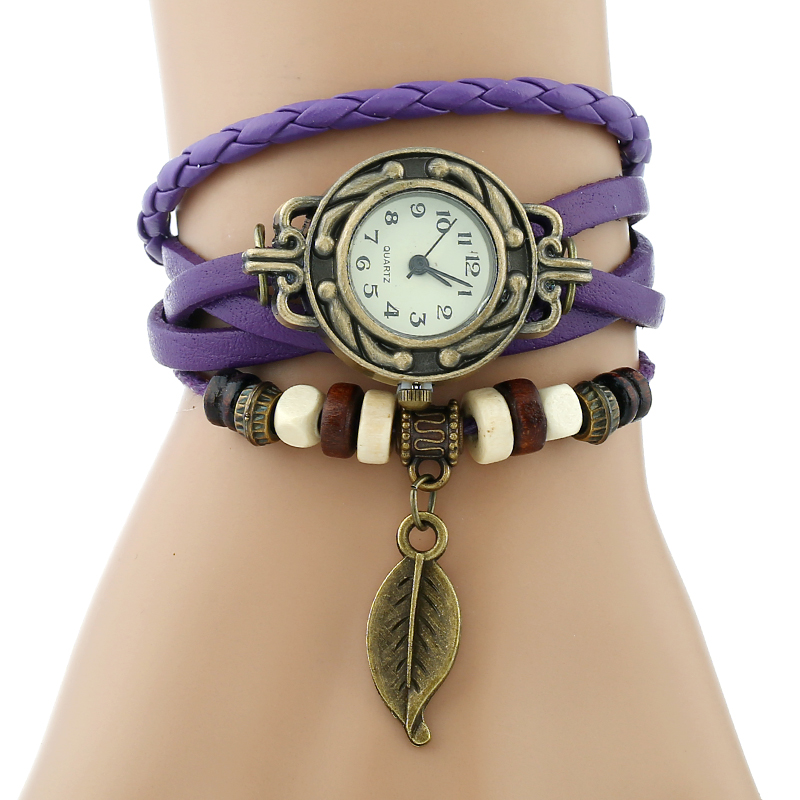 Classic Genuine Leather Bracelet Women Vintage Wrist Watch 4