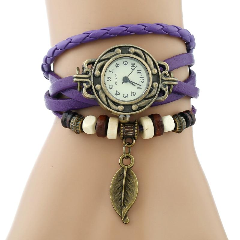 Classic Genuine Leather Bracelet Women Vintage Wrist Watch 4