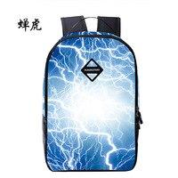 New Fashion Zipper Casual Backpack Lightning Print Men Women School Bag For Teenagers Boys Girls Couple