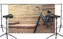 Exquisite Wooden Wall Background Blue Bike Docked on the Ground Child Photo Studio Photography 150x220cm