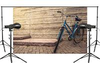 Exquisite Wooden Wall Background Blue Bike Docked on the Ground Child Photo Studio Photography Background 150x220cm