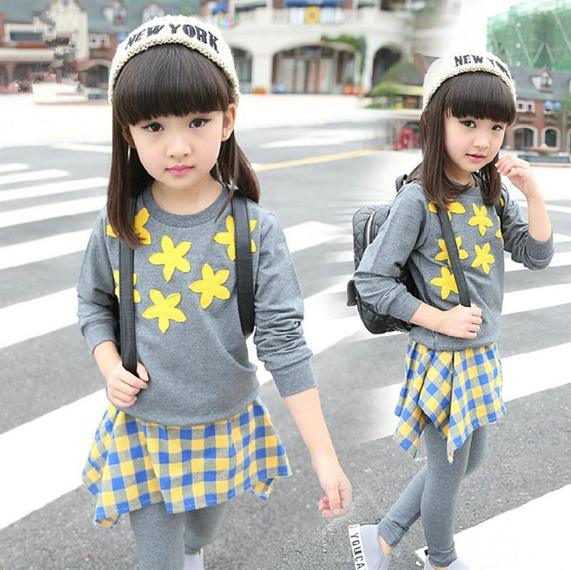 ФОТО 2017 New Autumn child clothing girls long T-shirt and Culottes two piece suits children flowers sweet plaid leisure sports suit