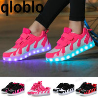 Led Shoes Kids USB Charge 7colors Boys Girls Luminate Sneakers Children Shoes With Light Up Glowing Shoes For Teenager 28 40