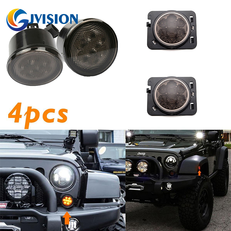 LED Turn Signal Recon Smoked Grille Amber Light + Smoke LED Side Maker Turn Fender Flare Light for Jeep Wrangler JK пылесос робот iclebo omega ycr m07 20