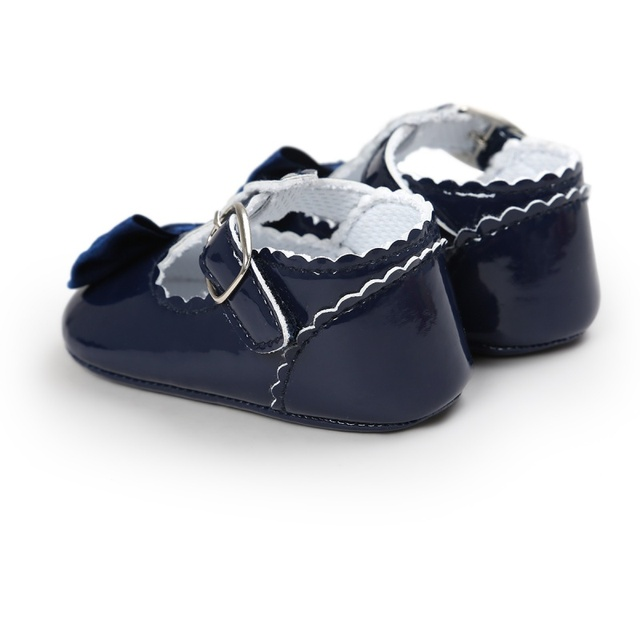 Newborn Baby Girls Shoes Bowtie PU Leather