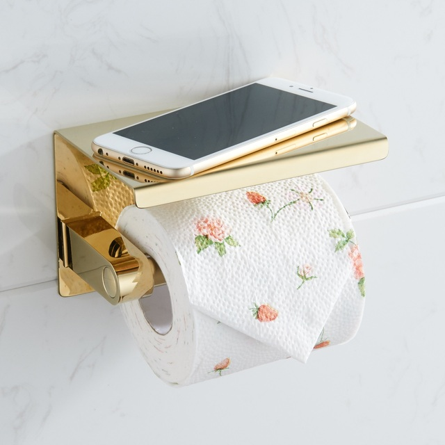 Stainless Steel Toilet Paper Holder with phone shelf bathroom toilet roll paper holder Bathroom Accessories simple design