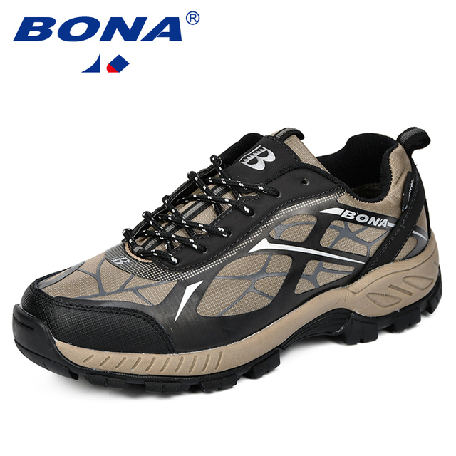 BONA Outdoor Sports Camping Shoes Men Tactical Hiking Shoes For Summer Breathable Waterproof Coating Men Athletic Shoes