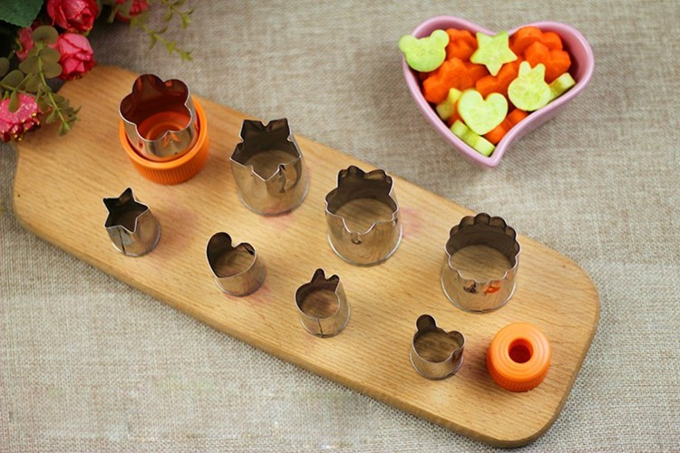 8pcs/Set Stainless Steel Puzzle Fruit Vegetable Cutter Kitchen Tools Mold Flower Shape Cookie Fondant Pastry Mould Accessories 9