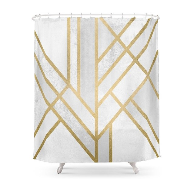 Art Deco Geometry 2 Shower Curtain Polyester Fabric Bathroom Home Decoration Waterproof Print Curtains With Hooks