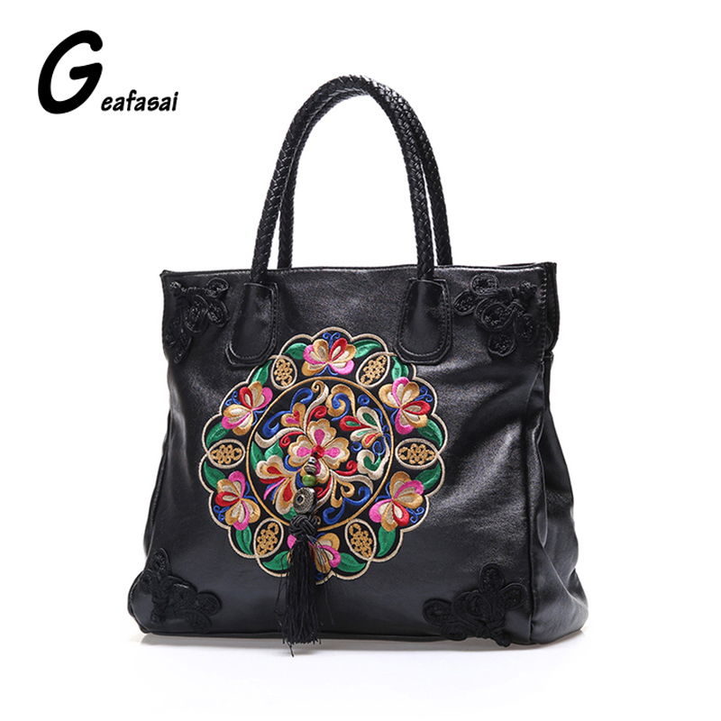 chinese ethnic national embroidered embroidery flowers floral style tassel handbags shoulder casual tote bags for women lady 2016 summer national ethnic style embroidery bohemia design tassel beads lady s handbag meessenger bohemian shoulder bag