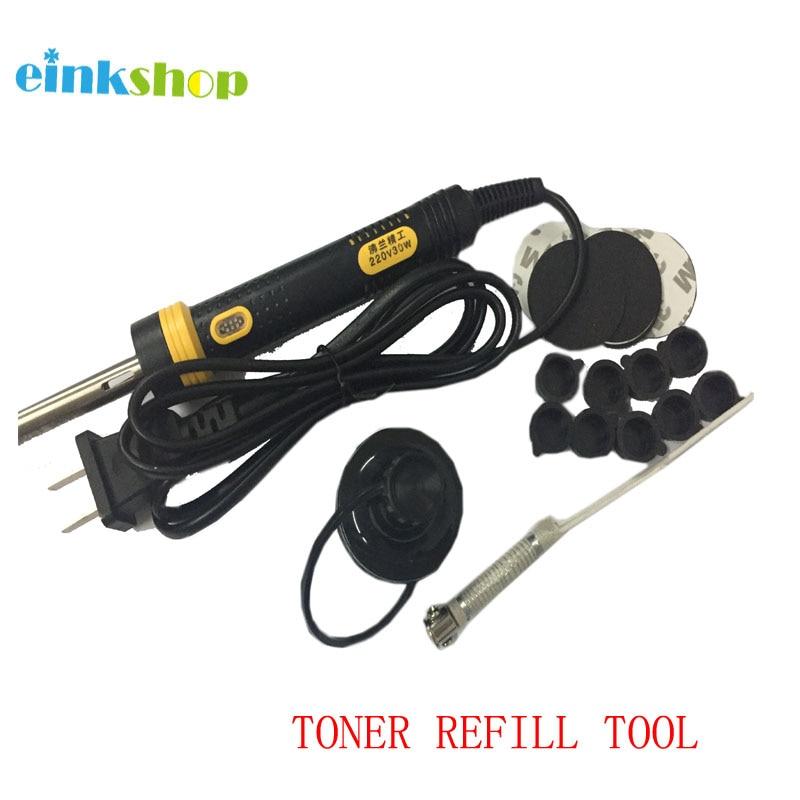 Ferramentas de recarga de toner einkshop para hp canon/lexmark/samsung/oki toner cartuchos ferramenta buraco perfurador digador espuma plug adesivo boné