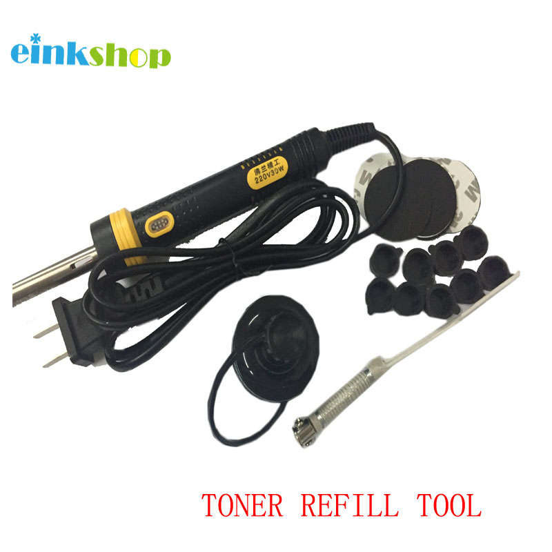 1Set Toner Refill Tools For HP/Canon/Lexmark/Samsung/OKI Toner Cartridges tool Hole Driller Digger And Foam  Plug Sticker Cap chip for ibm ip1832 n for lexmark x654 mfp for lexmark t 656dne universal toner chips free shipping