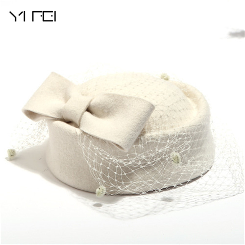 80f58b774ef Formal Lady Hat Royal Style Australian Hats Bride Elegant Wool Gauze Bow Airline  Stewardess White Women s Fedora Caps-in Berets from Women s Clothing ...