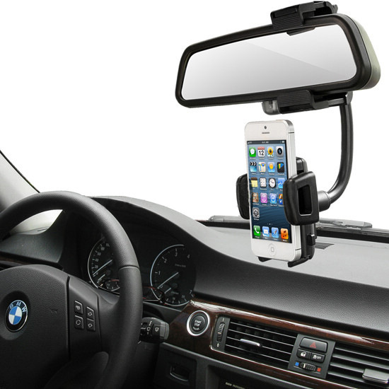 Degree Car Auto Rearview Mirror Mount Cell Phone Holder Bracket Stands For Samsung For Iphone Mobile Phone Gps