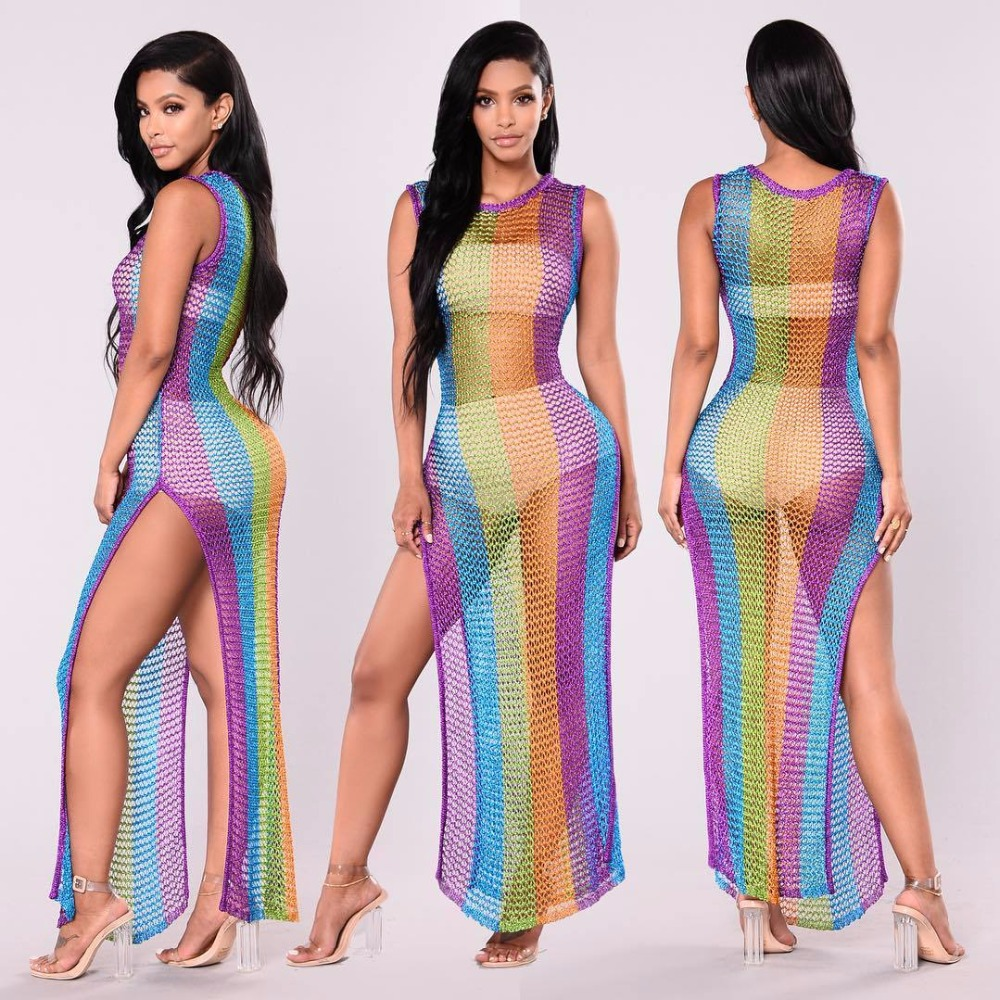 2018 Women Stripes In Colors Metallic Party Dresses Purple Rainbow Sexy Dresses