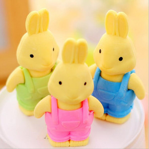 Image 5 - 27pcs/lot Cute Double leaf Bunny rubber design Eraser For Kids Lovely  Cute Stationery Children Gift
