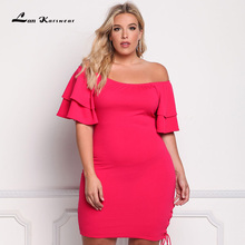 Lan Karswear 2017 Big Size Summer Slash neck Bodycon Dresses For Women Sexy Bandage Party Dress Plus Size Women Clothing Vestido