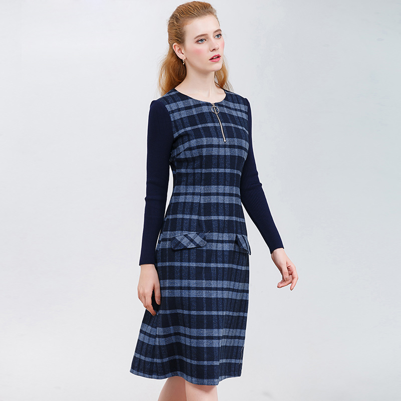 ONLY PLUS Ladies Woolen Dress for Women Knit Long Sleeve Mosaic High Quality Elegant A-line Stripe Dress Winter 2018 27