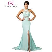 Free Shipping Halter Design Mermaid Evening Gown Floor Length Long Powder Blue Evening Dresses Elegant Formal