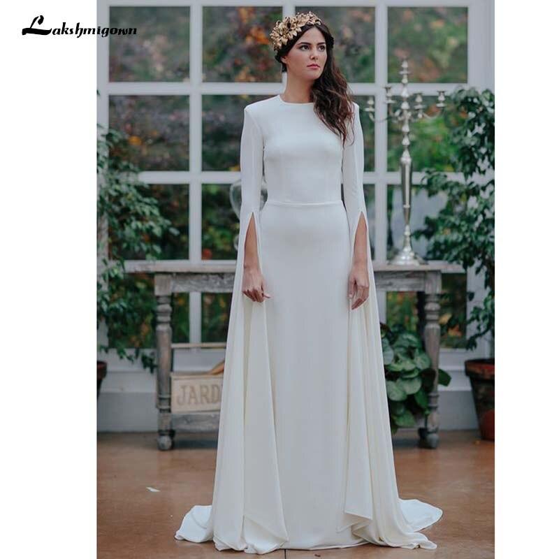 Garden Wedding Gowns: Long Sleeve Satin Wedding Dress Scoop Open Back A Line