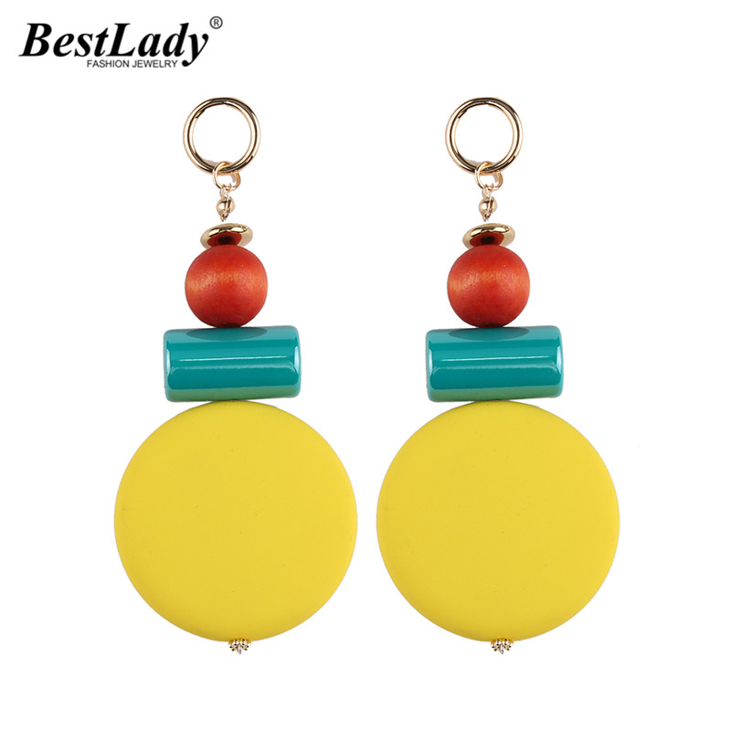 Best lady Romantic Pinky Color Pendant Cute Dangle Earring Statement Fashion Jewelry New Bohemian Cheap Drop Earring For Women