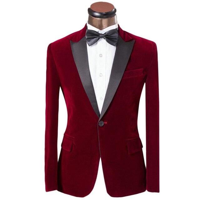 Роскошные Мужчины Смокинг Платье Костюмы 2016 Мода Красный Одной Кнопки Тонкий Жених Свадебные Костюмы Для Мужчин На Заказ Бархатные Мужские Костюмы