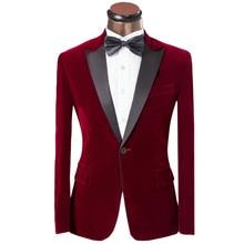 Luxus männer smoking frack 2016 mode roter button schlank Bräutigam hochzeit anzüge für männer brauch samt herren anzüge