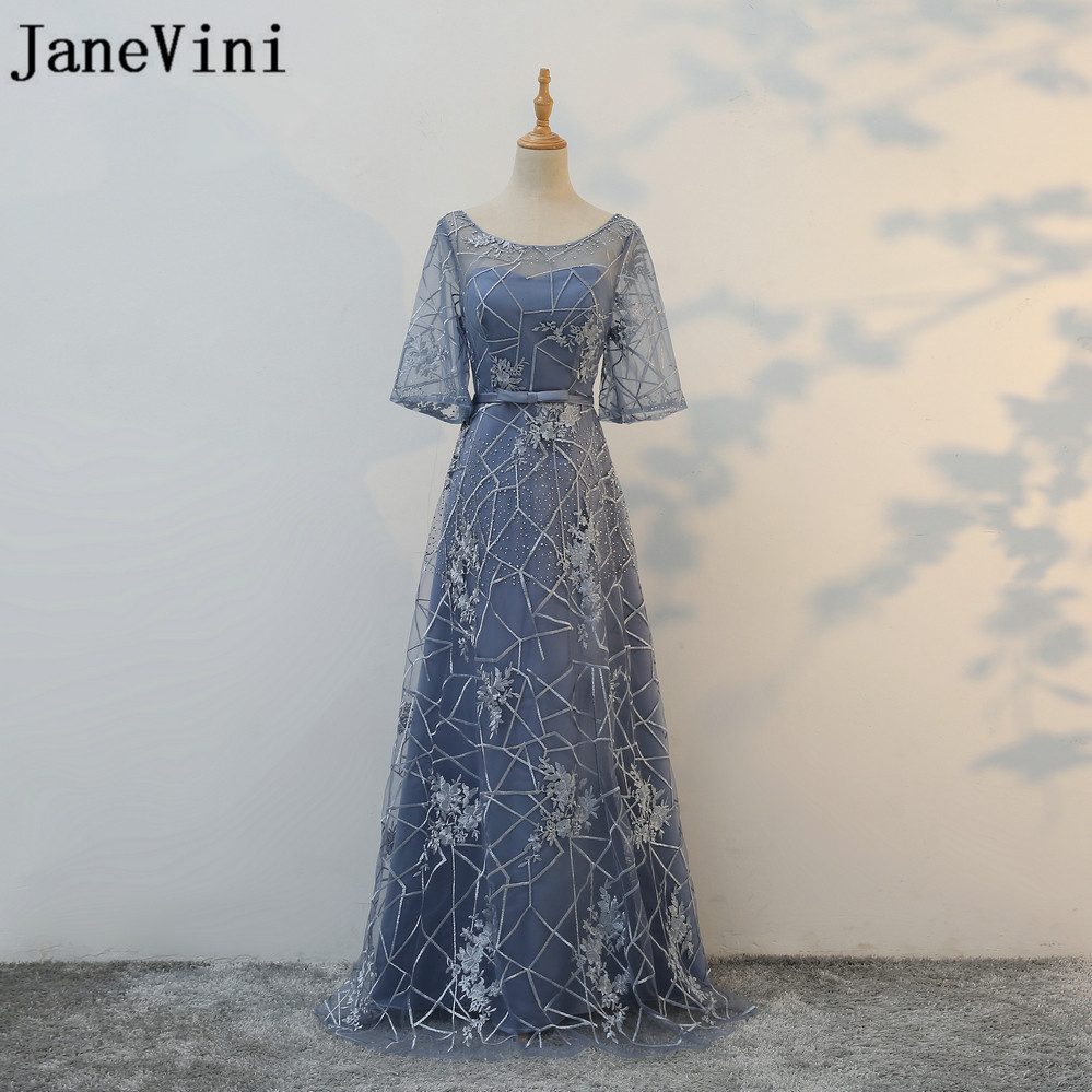 JaneVini 2018 Sexy Illusion Lace Tulle Wedding Party Gowns A Line   Bridesmaid     Dresses   Half Sleeve Beaded Elegant Long Woman   Dress
