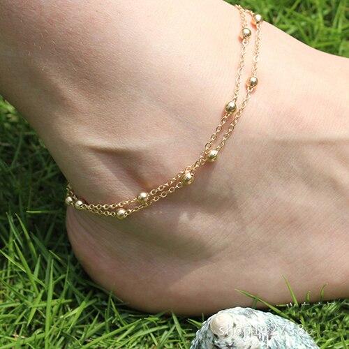 Women Barefoot Sandal Foot Chain Bead Simple Fashion Women Anklet Jewelry