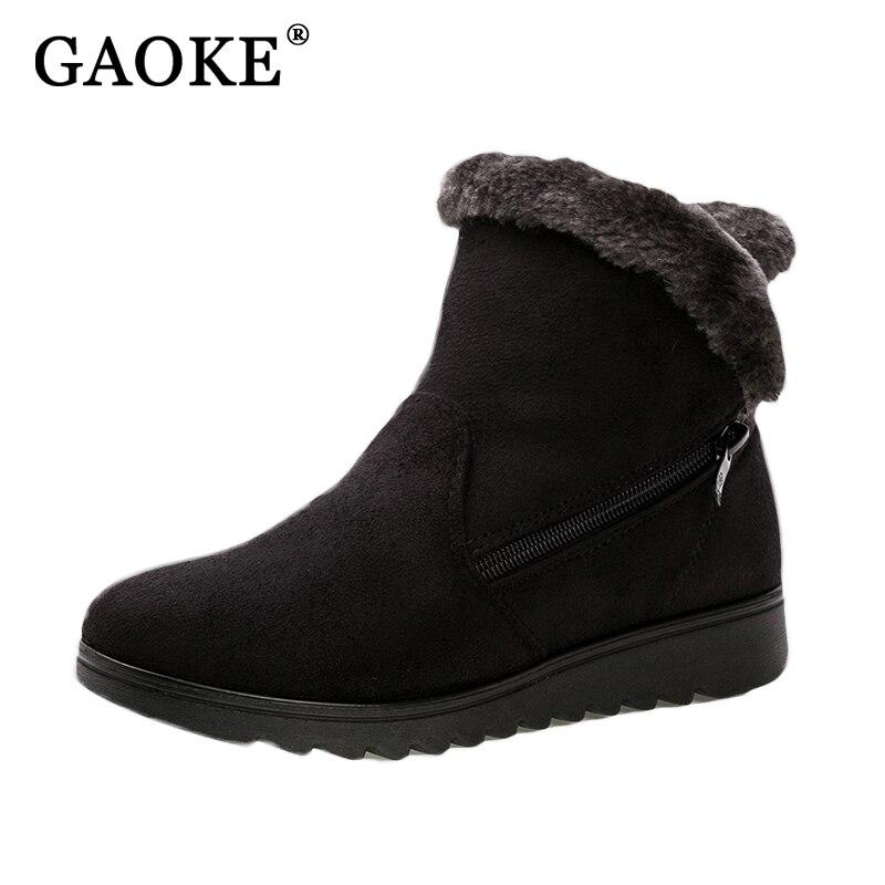 Зимняя обувь женские ботильоны Повседневное Модная обувь на плоской подошве танкетке Сапоги и ботинки для девочек Для женщин Дамы Обувь на теплом меху замшевые Снегоступы Chaussure Femme Hiver