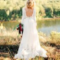2016 Lace Bohemian Wedding Dress Scoop Neck Long Sleeve Vestido De Noiva Floor Length Chiffon Sexy Backless Boho Bridal Gown