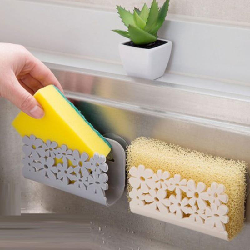 Flower Pattern Sink Side Shelf Sponge Storage Rack Kitchen Bathroom Storage Towel Soap Dish Holder Dishwashing Sponge Filter