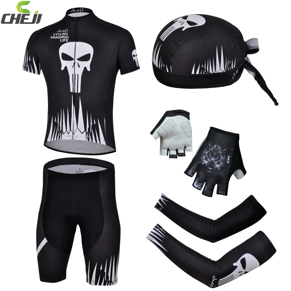 CHEJI Riding Bike Bicycle Jersey &Pirate Hat&Cycling Gloves&Bike Arm Sleeve Cover ciclismo Suit Black Skull cheji bicycle cycling water resistant lycra warm shoes cover black white size 42