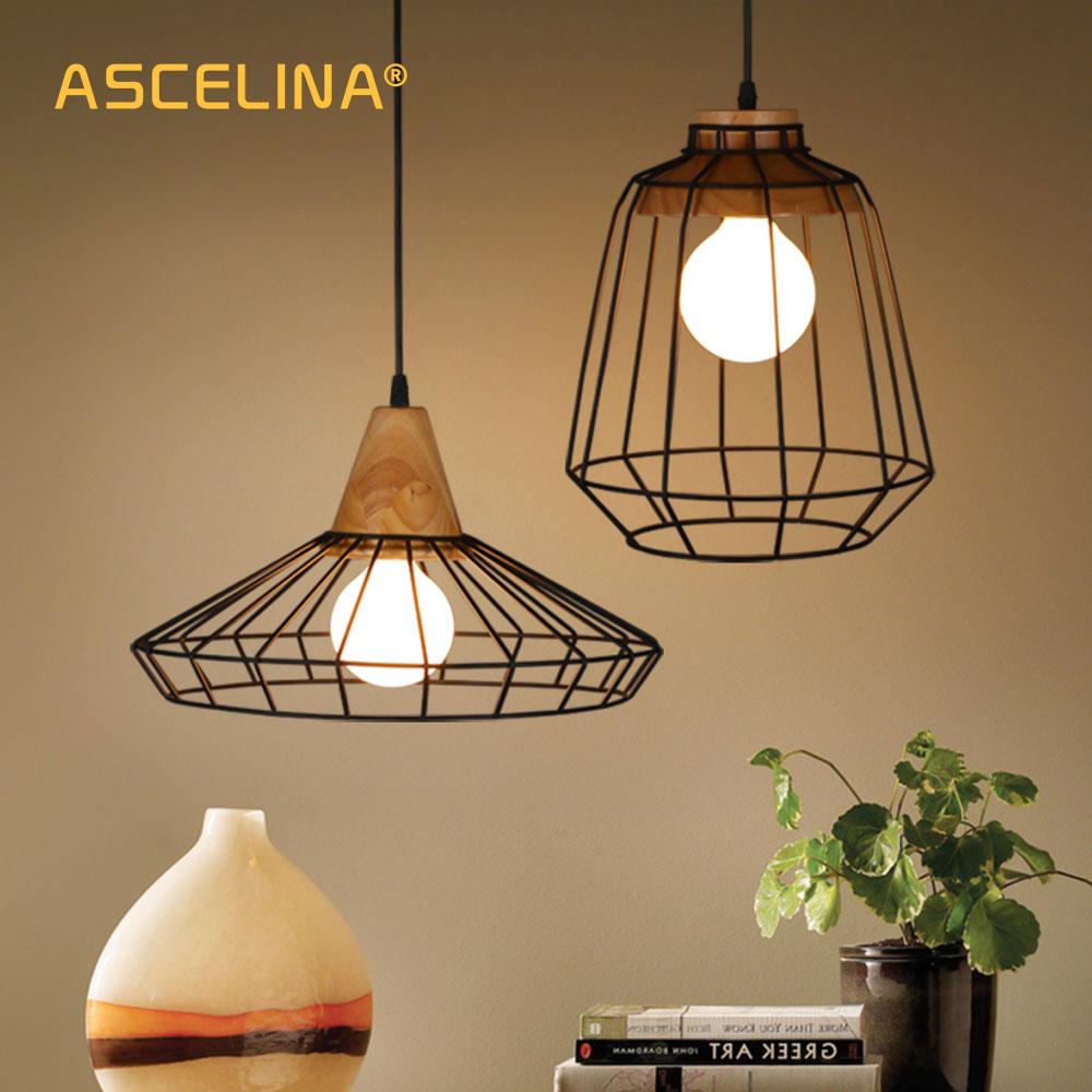 Wood Pendant Light Retro Loft Hanging Lamp Iron Cage Lampshade Pendant Bar Coffee Dining Room ASCELINA LED Lighting Fixtures