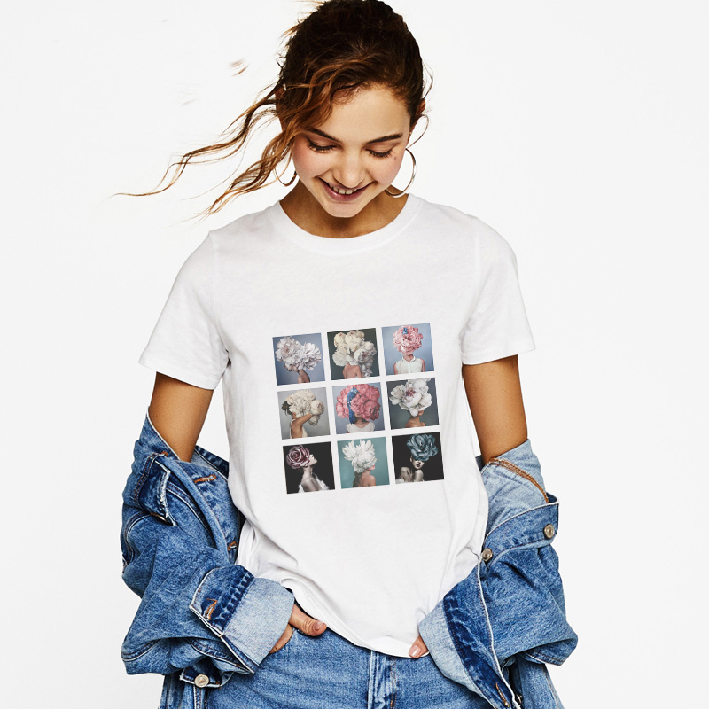 New Arrivals <font><b>2019</b></font> Fashion <font><b>Summer</b></font> Short Sleeve <font><b>Women</b></font> Feathe <font><b>Flower</b></font> Printed Tshirt <font><b>Harajuku</b></font> Aesthetic Streetwear Vogue <font><b>T</b></font> <font><b>Shirts</b></font> image