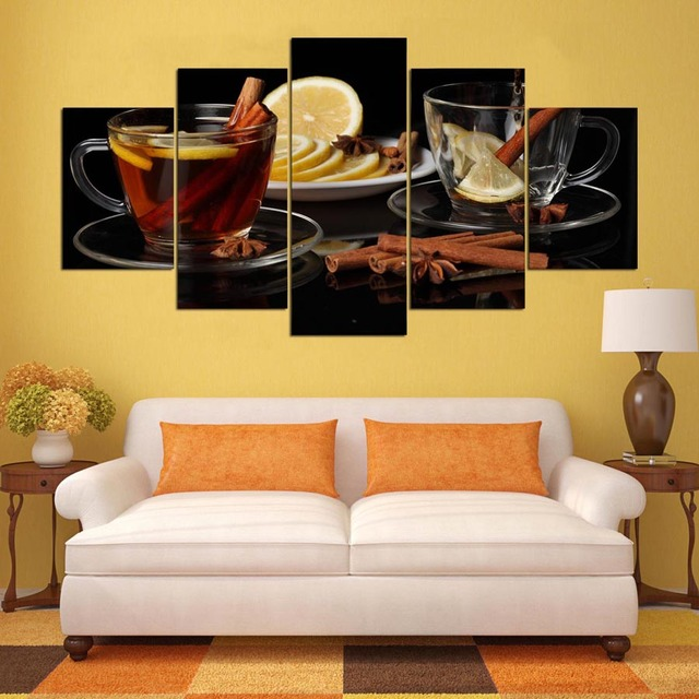Abstract 5 Panel Lemon Landscape Canvas Painting Wall Art Poster ...