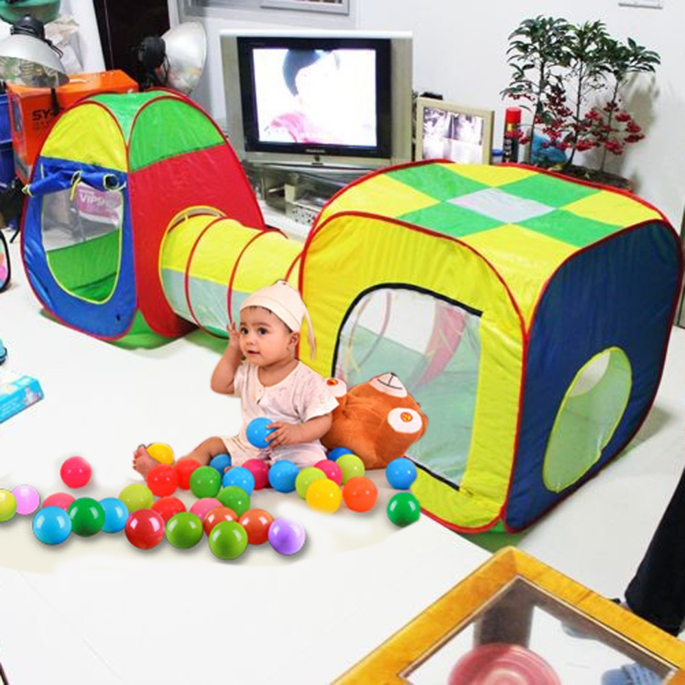 Baby-Playing-House-Toys-Storage-Tent-Cubby-Tube-Teepee-3pcs-Pop-up-Play-Tent-Children-Tunnel