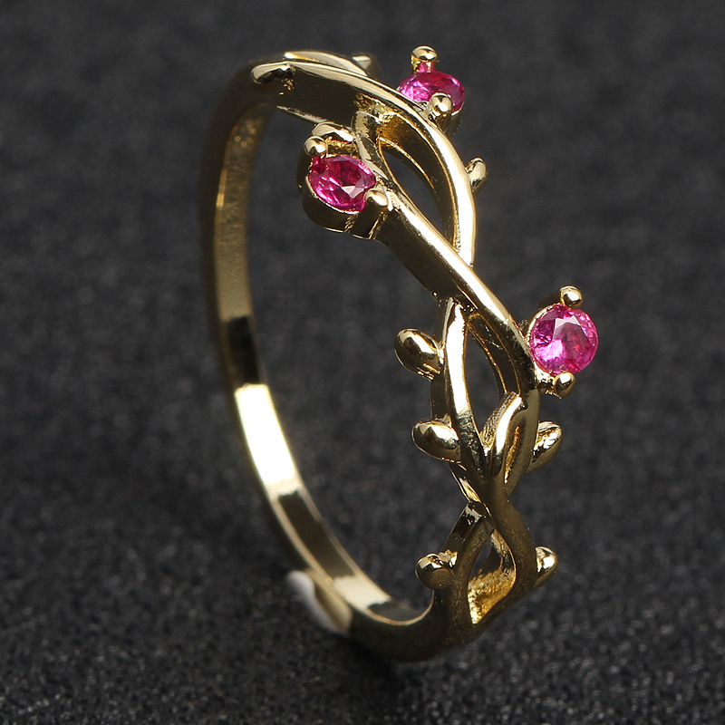 Dropwow Mossovy Floral Plated Rose Gold Engagement Ring for Female ... 72fc09ae0ab7