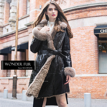 New Technology Double Face Coated Sheepskin Fur Jacket Glorious Style Ladies Fox Fur Hooded Sheep Fur And Leather Coat Windproof