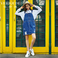 Veri Gude Women Ripped Hole Denim Spaghetti Strap Dress Straight Style Causal