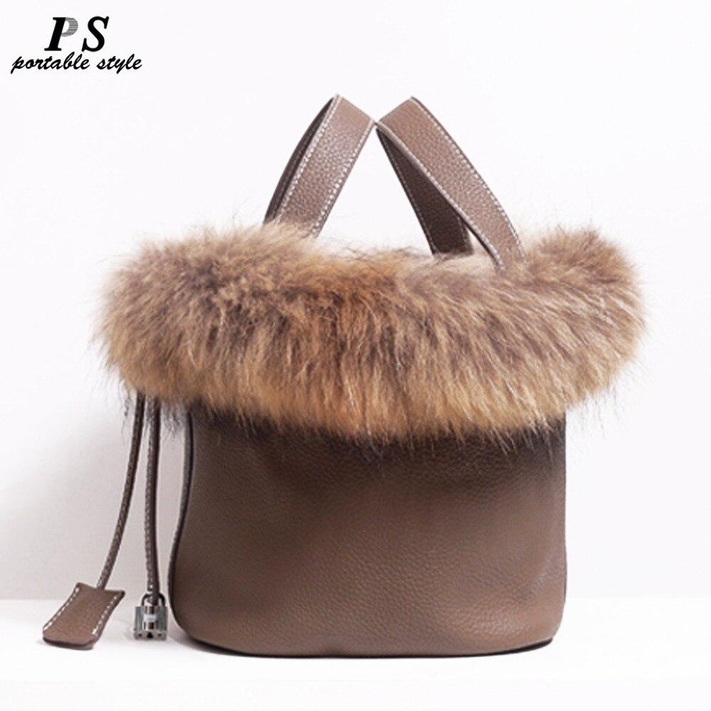 Réel renard fourrure cheveux sac à main célèbre marque Designer femmes fourre-tout sac en cuir véritable naturel dames sac à main Picotin serrure seau sac
